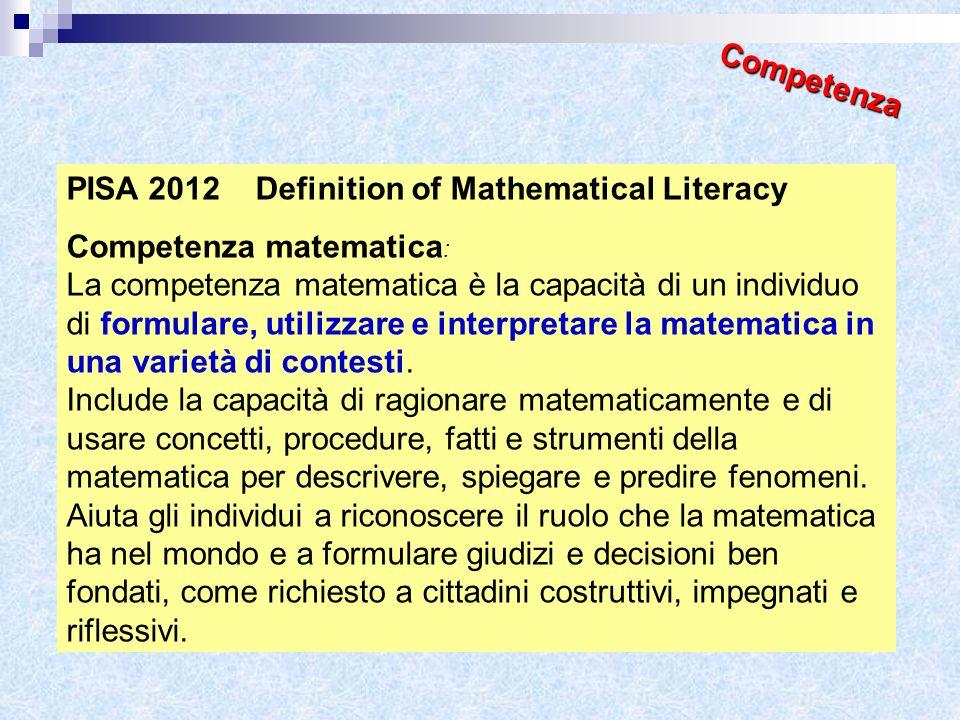 CompetenzaPISA 2012 Definition of Mathematical Literacy. Competenza matematica: