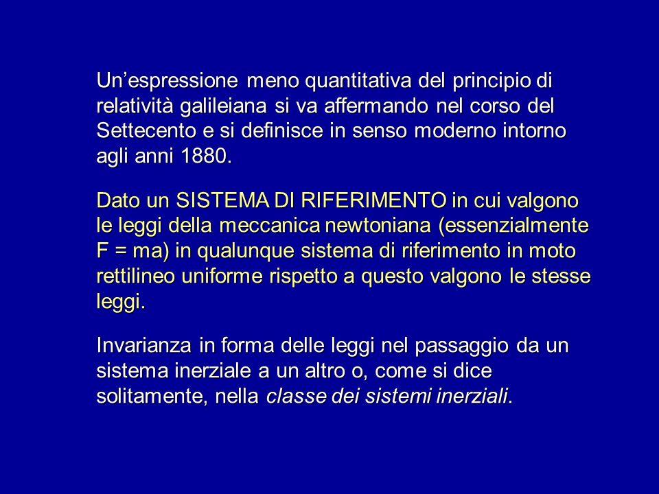 Un'espressione meno quantitativa del principio di relatività galileiana si va affermando nel corso del Settecento e si definisce in senso moderno intorno agli anni 1880.