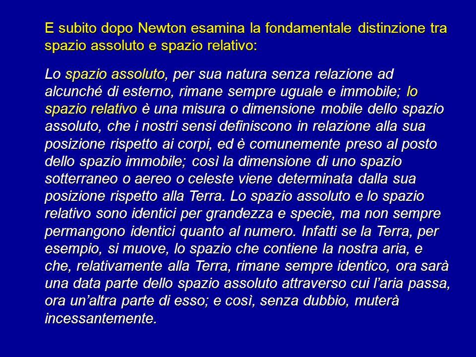 E subito dopo Newton esamina la fondamentale distinzione tra spazio assoluto e spazio relativo: