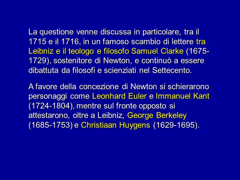 La questione venne discussa in particolare, tra il 1715 e il 1716, in un famoso scambio di lettere tra Leibniz e il teologo e filosofo Samuel Clarke (1675- 1729), sostenitore di Newton, e continuò a essere dibattuta da filosofi e scienziati nel Settecento.