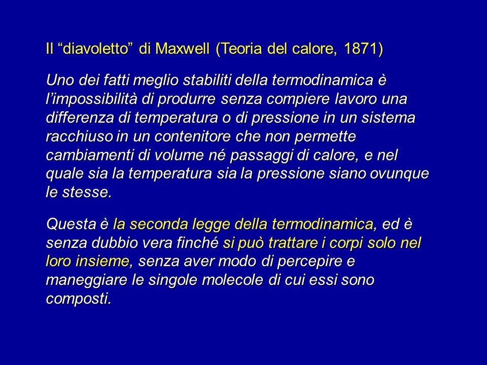 Il diavoletto di Maxwell (Teoria del calore, 1871)