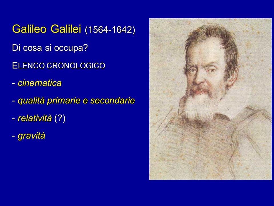 Galileo Galilei (1564-1642) Di cosa si occupa ELENCO CRONOLOGICO