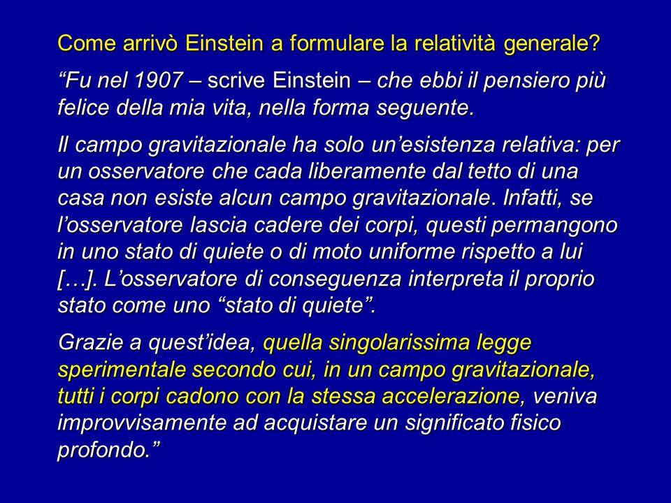 Come arrivò Einstein a formulare la relatività generale