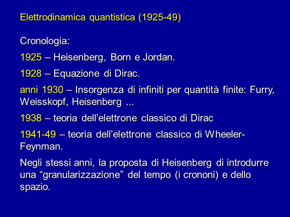 1925 – Heisenberg, Born e Jordan. 1928 – Equazione di Dirac.