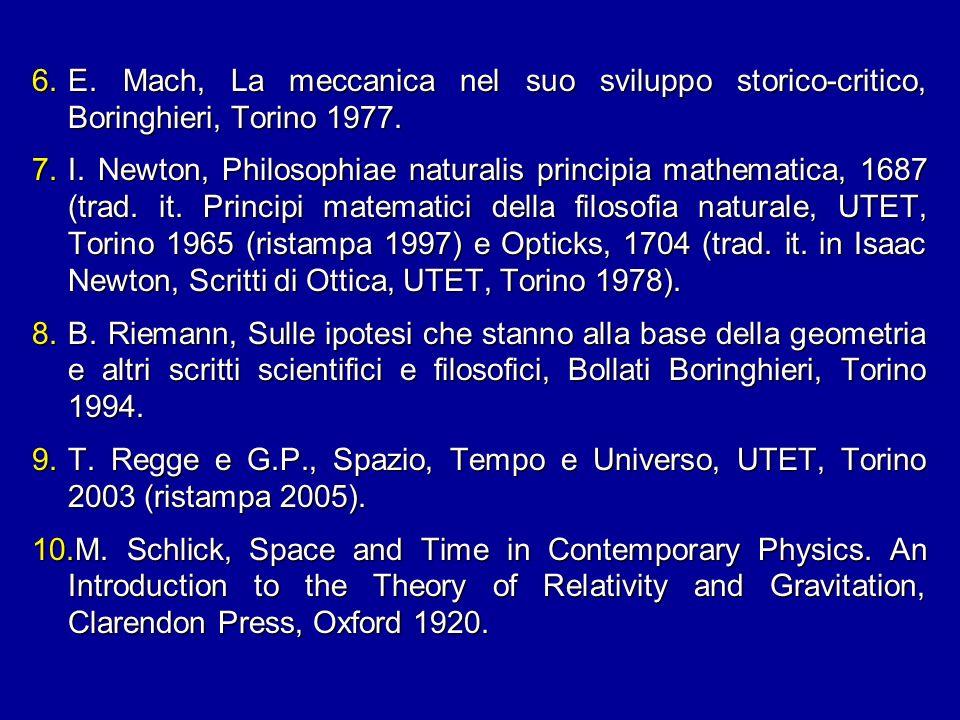 E. Mach, La meccanica nel suo sviluppo storico-critico, Boringhieri, Torino 1977.