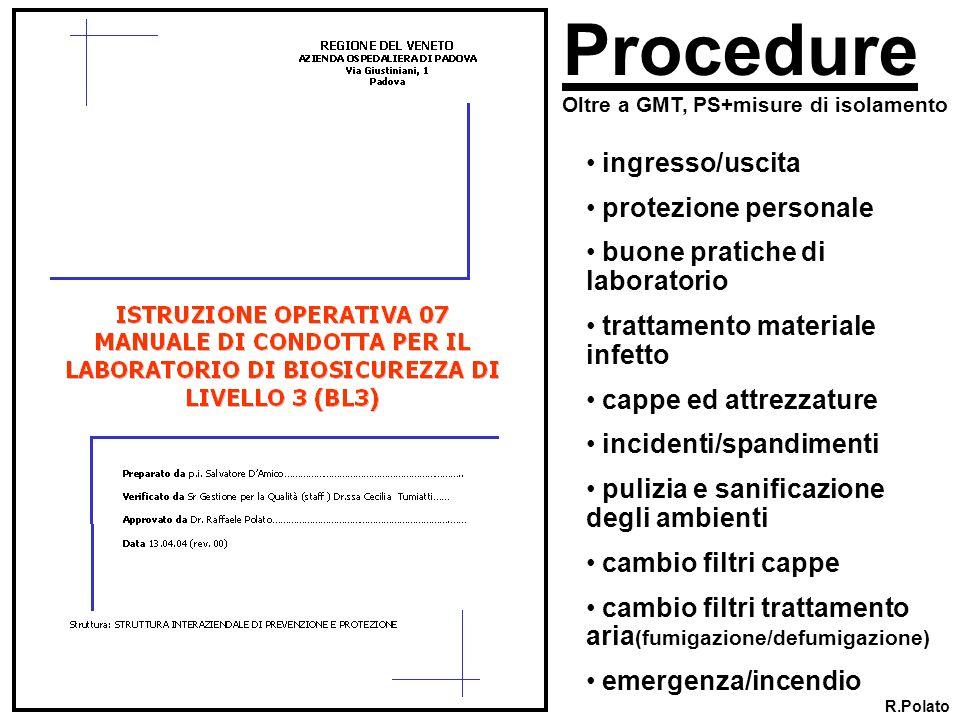 Procedure ingresso/uscita protezione personale