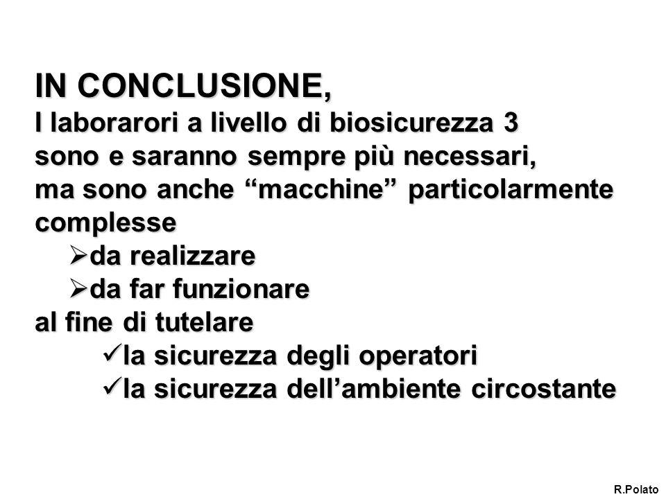 IN CONCLUSIONE, I laborarori a livello di biosicurezza 3