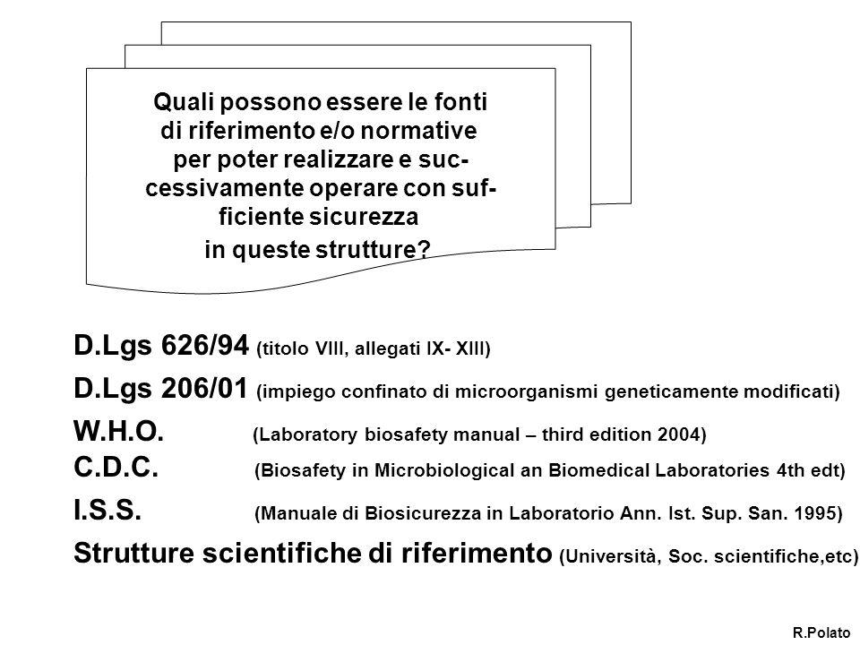 D.Lgs 626/94 (titolo VIII, allegati IX- XIII)
