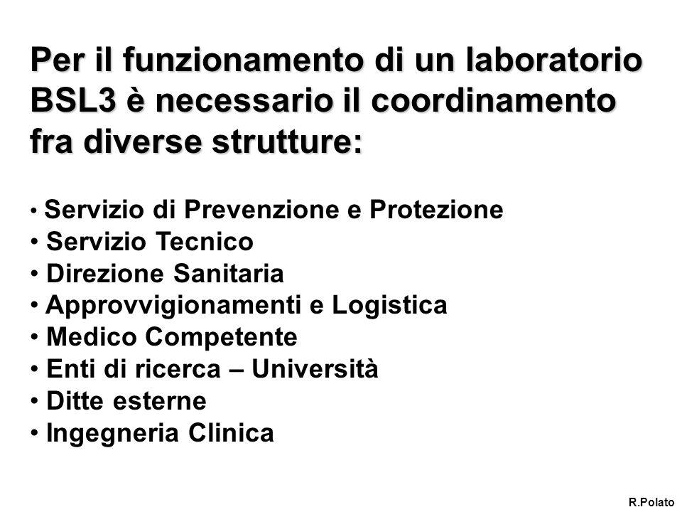 Per il funzionamento di un laboratorio BSL3 è necessario il coordinamento fra diverse strutture: