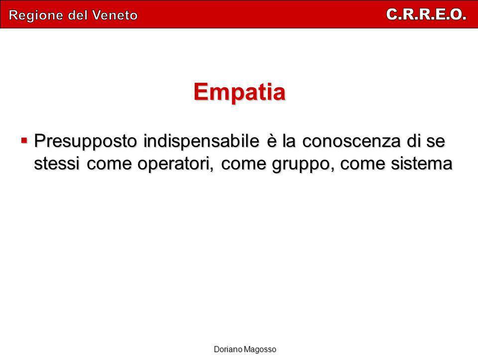 Regione del Veneto C.R.R.E.O. Empatia. Presupposto indispensabile è la conoscenza di se stessi come operatori, come gruppo, come sistema.