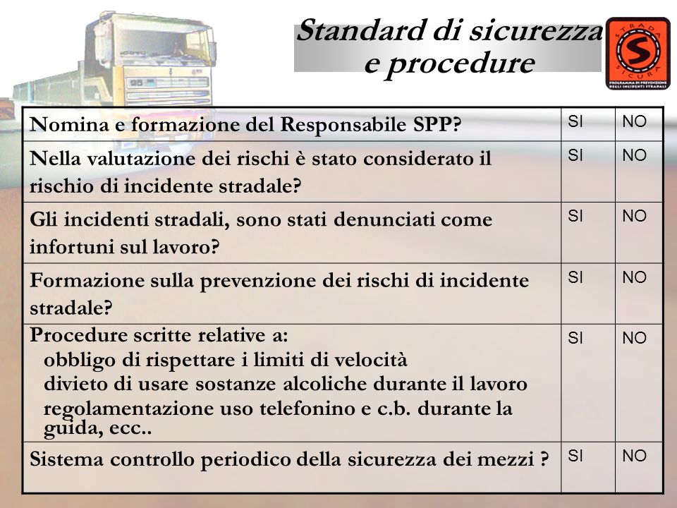Standard di sicurezza e procedure