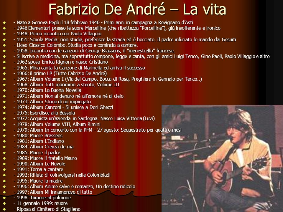 Fabrizio De André – La vita