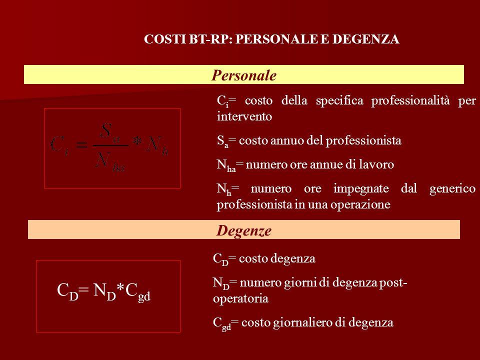COSTI BT-RP: PERSONALE E DEGENZA