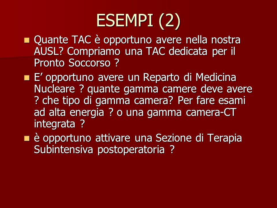 ESEMPI (2) Quante TAC è opportuno avere nella nostra AUSL Compriamo una TAC dedicata per il Pronto Soccorso