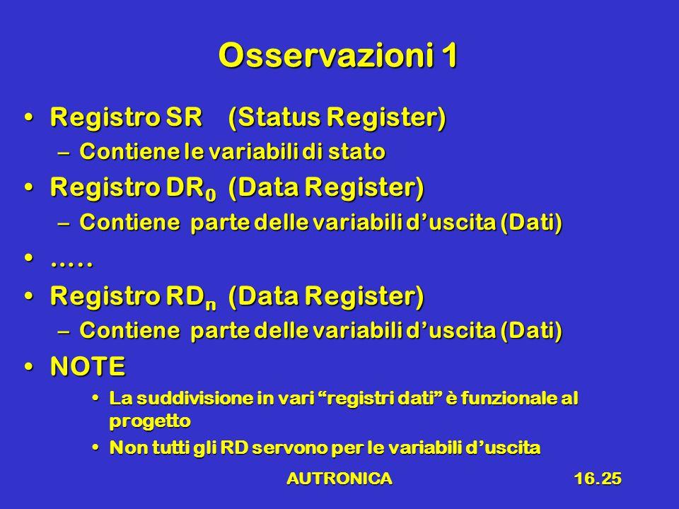 Osservazioni 1 Registro SR (Status Register)