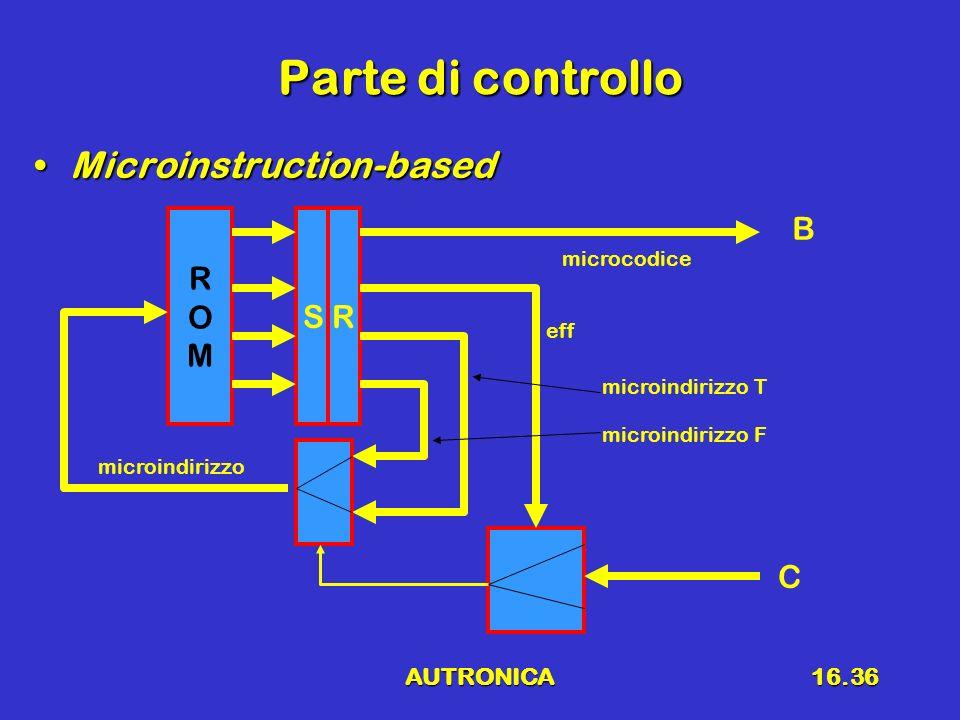 Parte di controllo Microinstruction-based R O M S R B C AUTRONICA