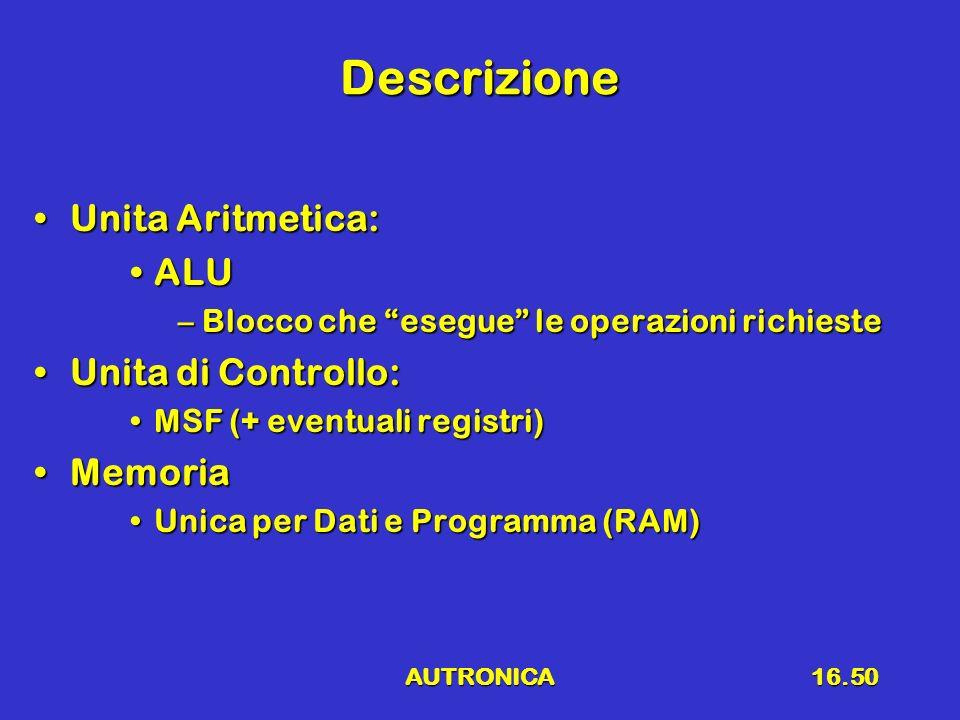 Descrizione Unita Aritmetica: ALU Unita di Controllo: Memoria