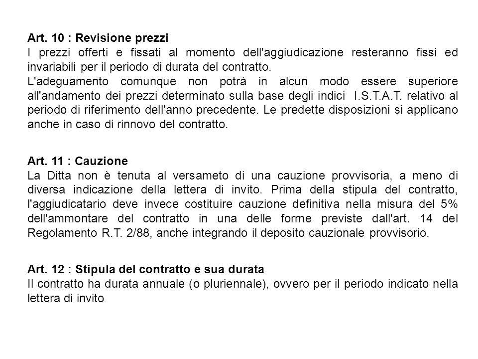 Art. 10 : Revisione prezzi