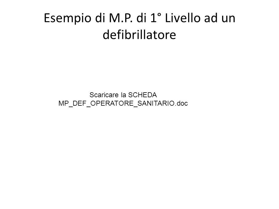 Esempio di M.P. di 1° Livello ad un defibrillatore