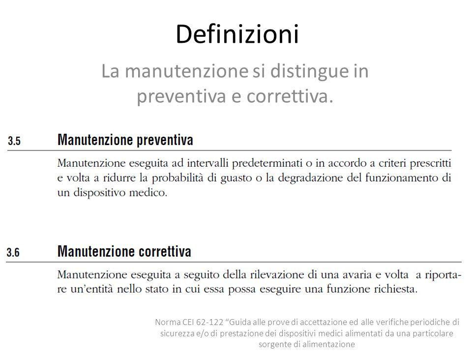 La manutenzione si distingue in preventiva e correttiva.