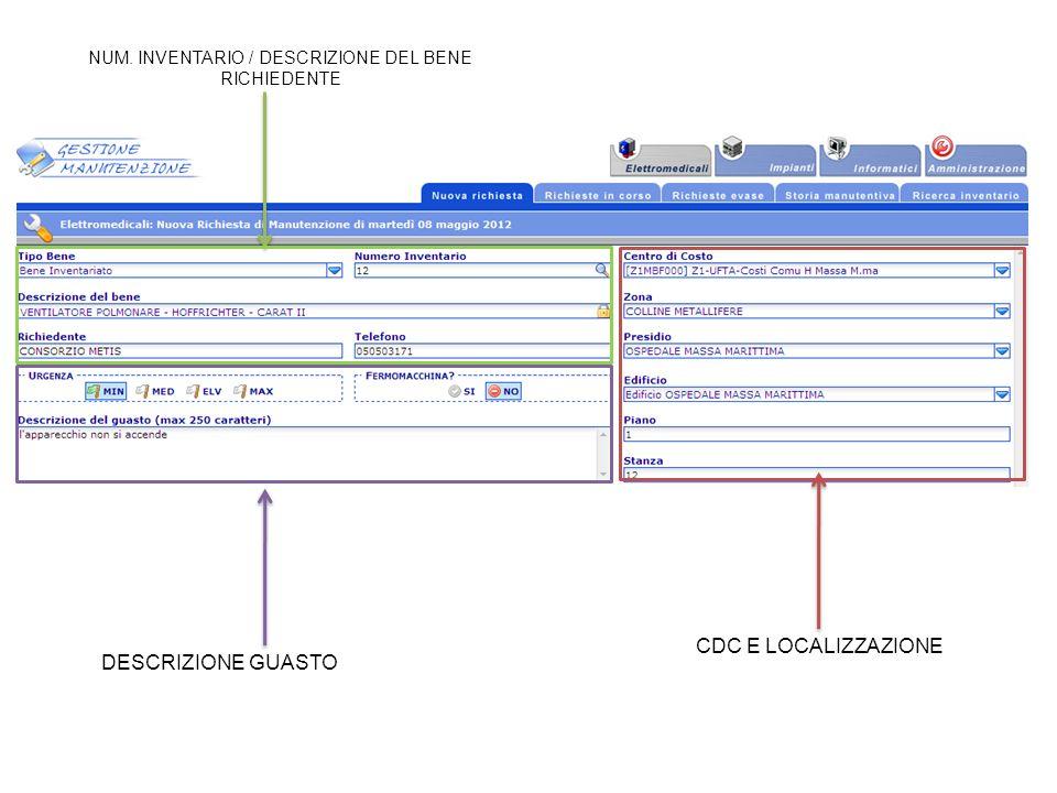 NUM. INVENTARIO / DESCRIZIONE DEL BENE