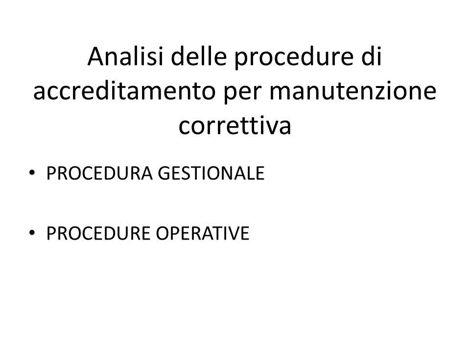 Analisi delle procedure di accreditamento per manutenzione correttiva