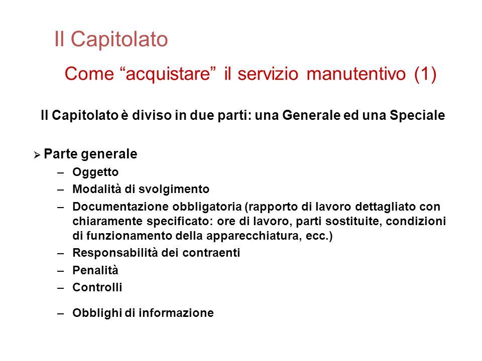 Il Capitolato Come acquistare il servizio manutentivo (1)