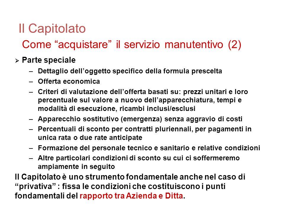Il Capitolato Come acquistare il servizio manutentivo (2)