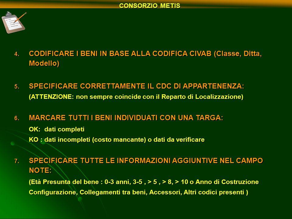 CODIFICARE I BENI IN BASE ALLA CODIFICA CIVAB (Classe, Ditta, Modello)