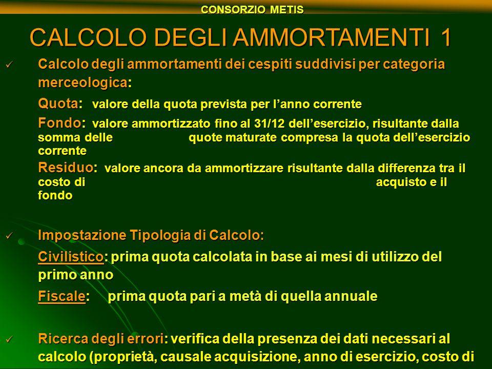 CALCOLO DEGLI AMMORTAMENTI 1