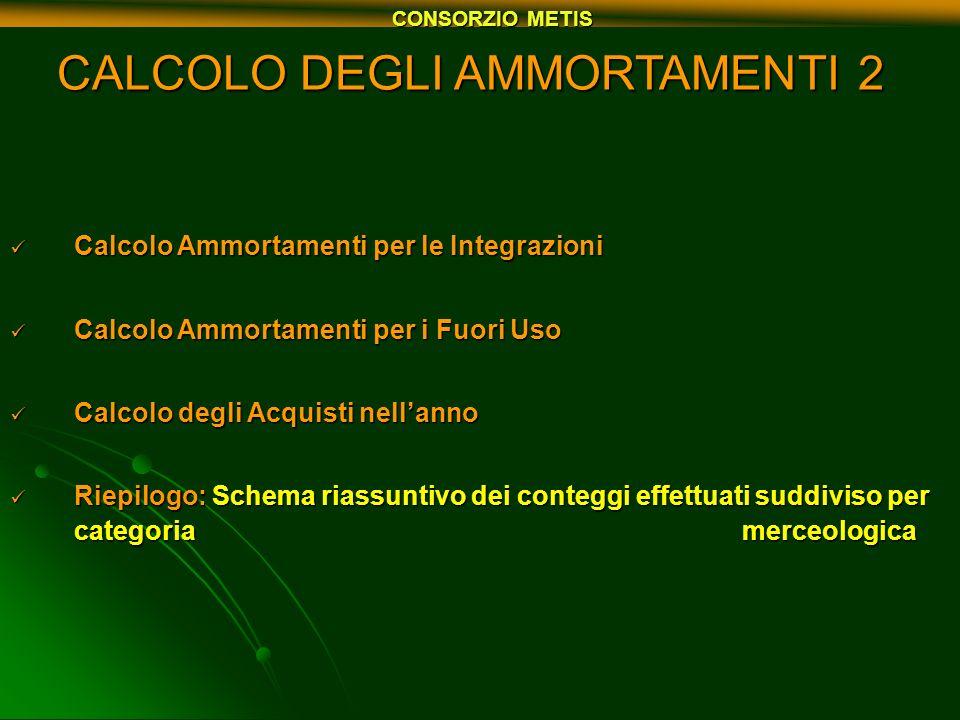 CALCOLO DEGLI AMMORTAMENTI 2
