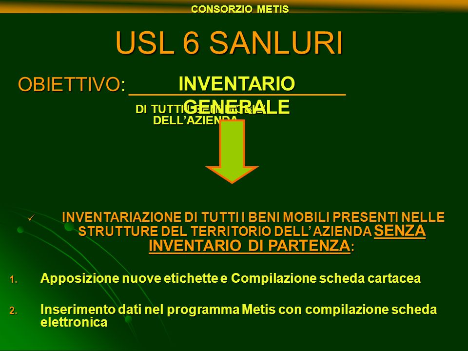 USL 6 SANLURI OBIETTIVO: INVENTARIO GENERALE
