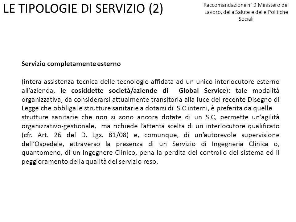 LE TIPOLOGIE DI SERVIZIO (2)