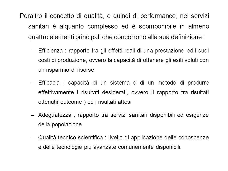Peraltro il concetto di qualità, e quindi di performance, nei servizi sanitari è alquanto complesso ed è scomponibile in almeno quattro elementi principali che concorrono alla sua definizione :