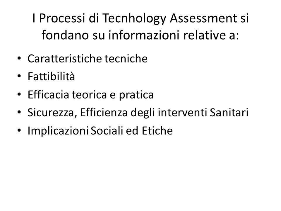 I Processi di Tecnhology Assessment si fondano su informazioni relative a: