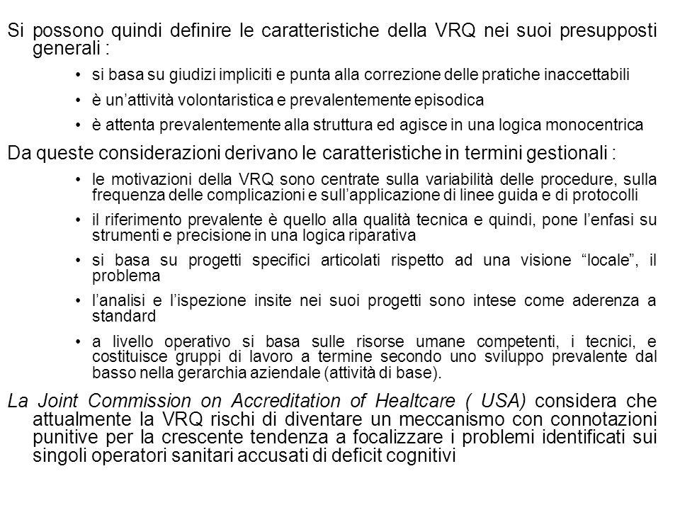 Si possono quindi definire le caratteristiche della VRQ nei suoi presupposti generali :