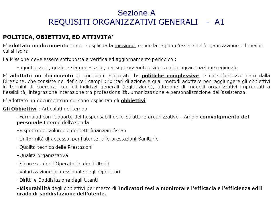 Sezione A REQUISITI ORGANIZZATIVI GENERALI - A1