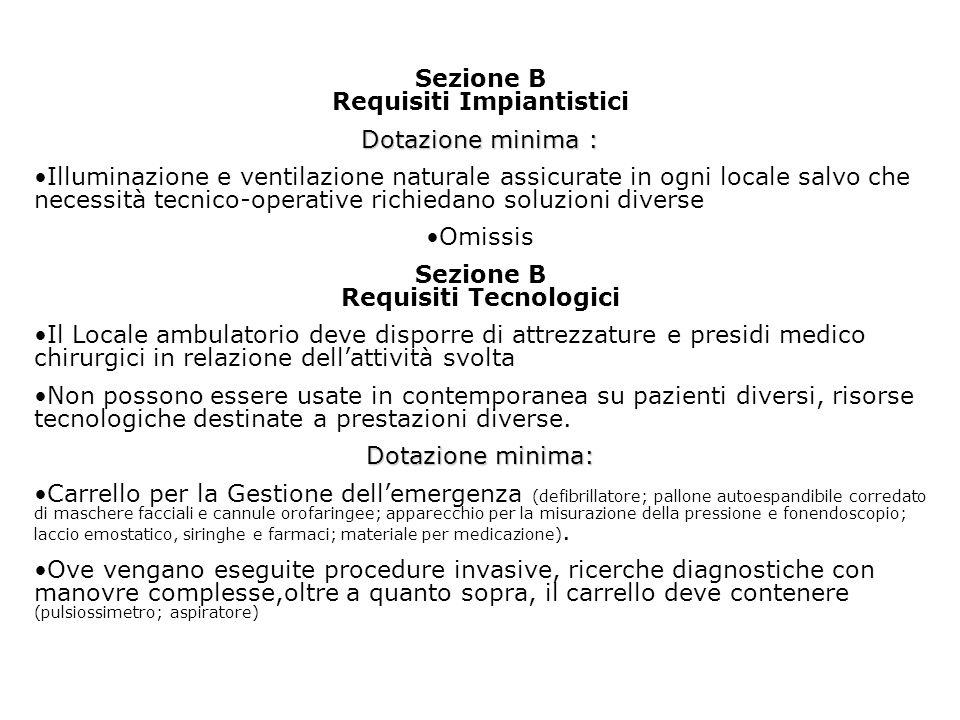 Sezione B Requisiti Impiantistici Sezione B Requisiti Tecnologici