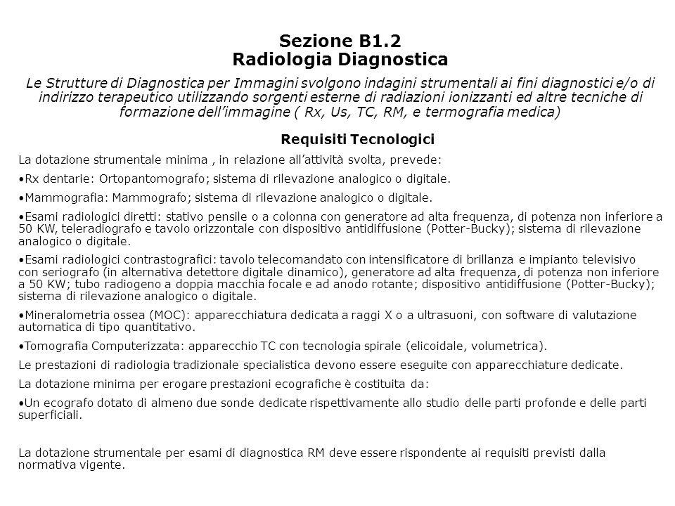 Sezione B1.2 Radiologia Diagnostica Requisiti Tecnologici