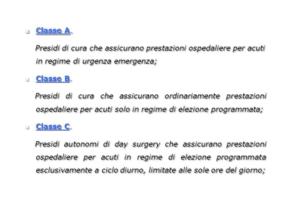 Classe A. Presidi di cura che assicurano prestazioni ospedaliere per acuti in regime di urgenza emergenza;