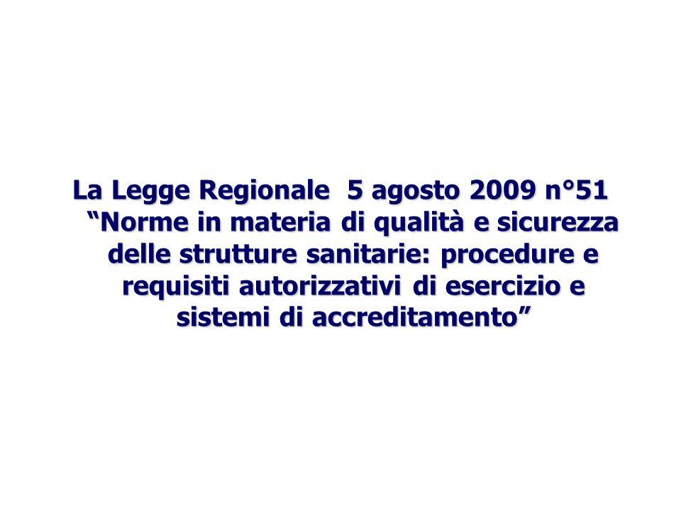 La Legge Regionale 5 agosto 2009 n°51 Norme in materia di qualità e sicurezza delle strutture sanitarie: procedure e requisiti autorizzativi di esercizio e sistemi di accreditamento