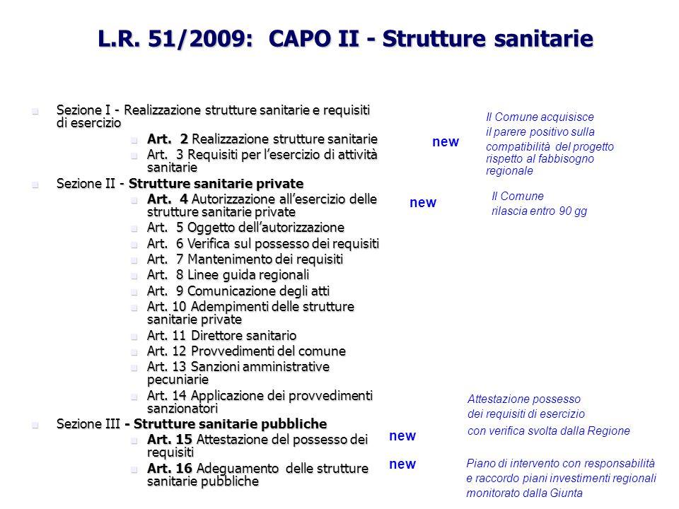 L.R. 51/2009: CAPO II - Strutture sanitarie