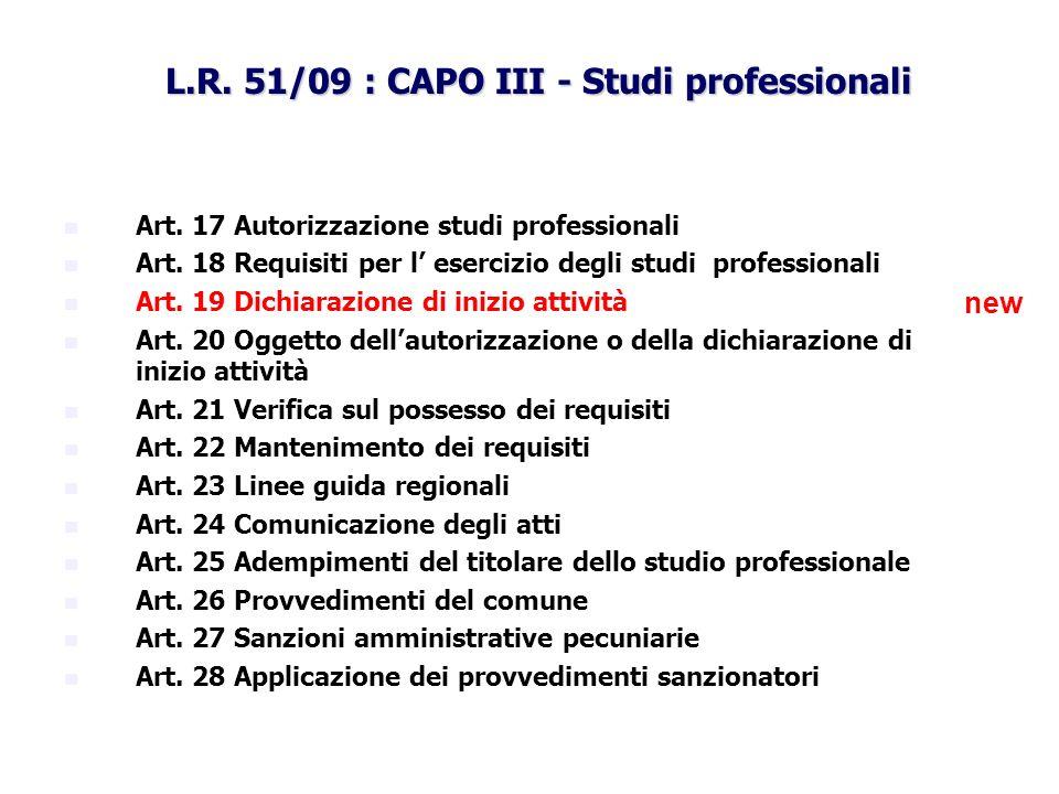 L.R. 51/09 : CAPO III - Studi professionali