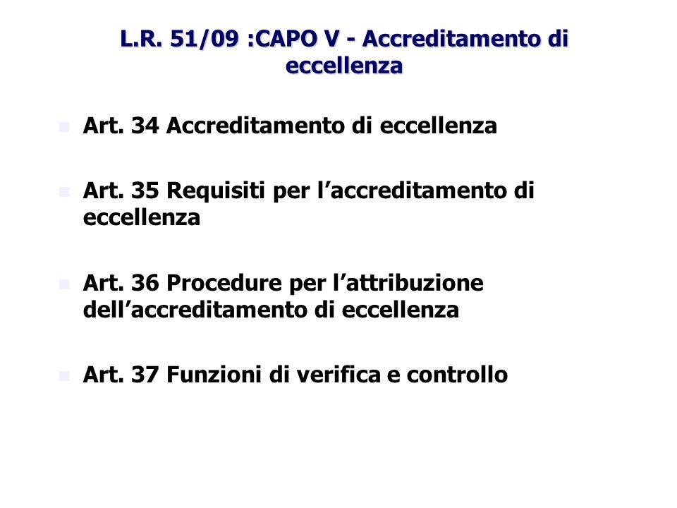 L.R. 51/09 :CAPO V - Accreditamento di eccellenza