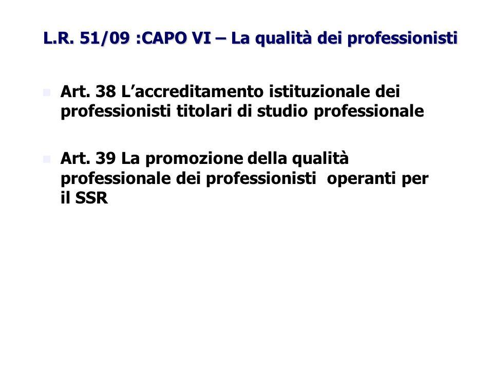 L.R. 51/09 :CAPO VI – La qualità dei professionisti