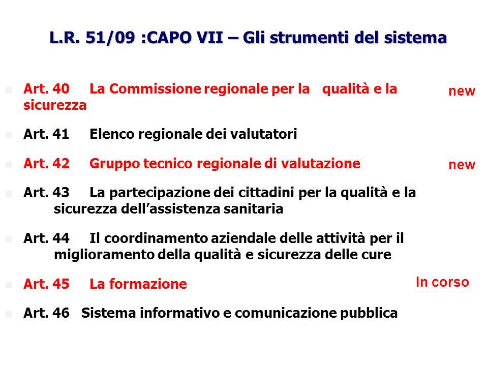 L.R. 51/09 :CAPO VII – Gli strumenti del sistema