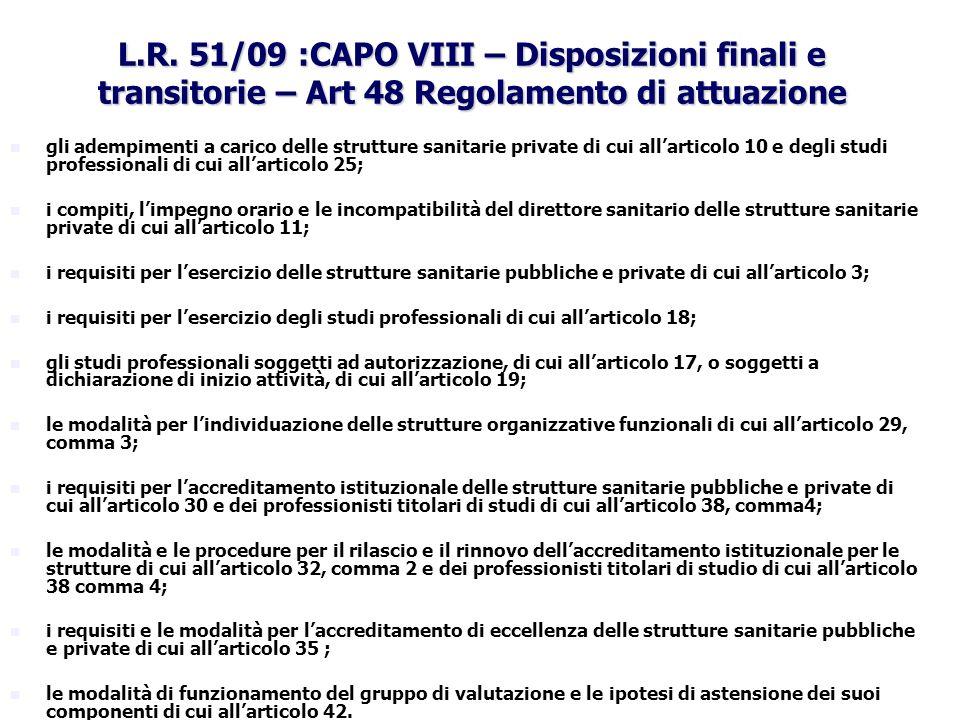 L.R. 51/09 :CAPO VIII – Disposizioni finali e transitorie – Art 48 Regolamento di attuazione