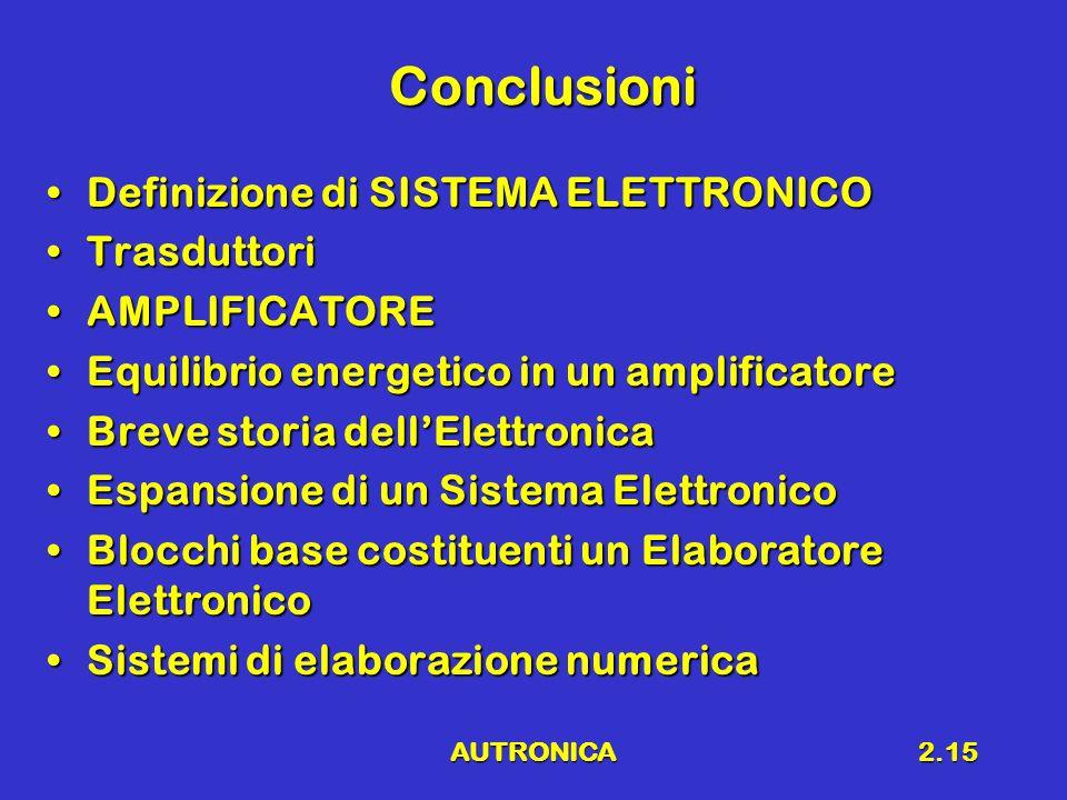 Conclusioni Definizione di SISTEMA ELETTRONICO Trasduttori