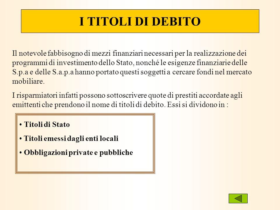 I TITOLI DI DEBITO