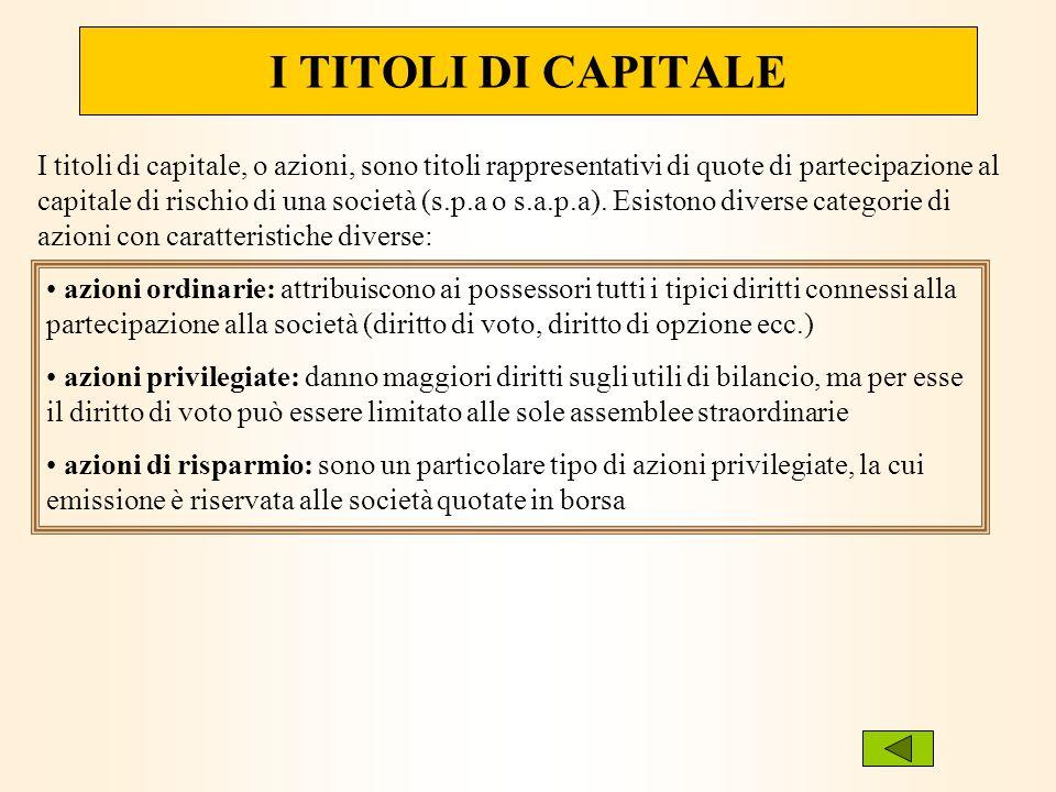 I TITOLI DI CAPITALE